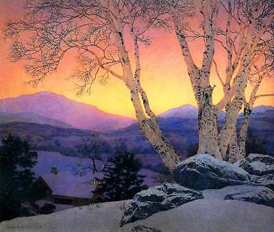 Beautiful Pink Sky Tree, Farm  by Maxfield Parrish