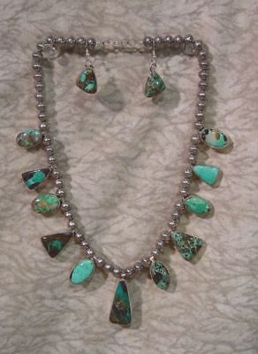 """Navajo CARICO LAKE Turquoise Necklace & Earrings by B. Johnson, 18"""", 1 1/2"""" ear"""