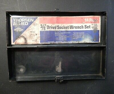 """Vintage THORSEN-ALLIED Small Empty Metal Case Tool Box for 3/8"""" Drive Socket Set"""