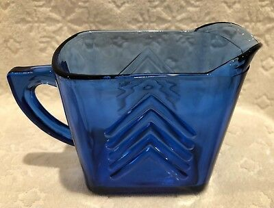 Vintage Hazel-Atlas 1930's+; Chevron-Cobalt Depression-Glass 12-oz Milk-Pitcher