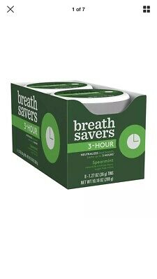 Breath Savers 3 Hour Spearmint Mints, 1.27 Ounce Tins (Pack of 8)