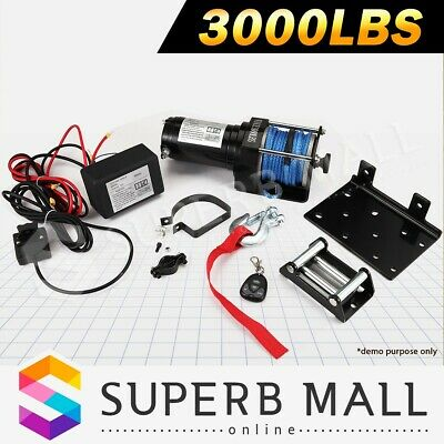 12V Wireless Electric Winch Synthetic Rope Boat ATV  4WD 3000LBS/1325KGS