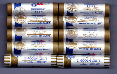 4-Sets 2009-P&D Lincoln Bicentennial Cent Rolls +1-Set 2010-P&D Cent Rolls