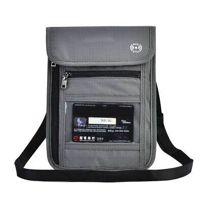 Grey RFID Blocking Neck Stash Pouch Passport Holder Security Travel Wallet GM