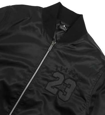 564cff1162a1 Nike Air Jordan 6 Bomber Jacket Mens 833918-010 Black Smooth Fabric Jacket  Sz LG