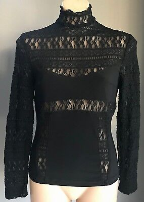 Vintage Black GEORGE GROSS High Neck Lace Long Sleeve Stretch Blouse Size 12