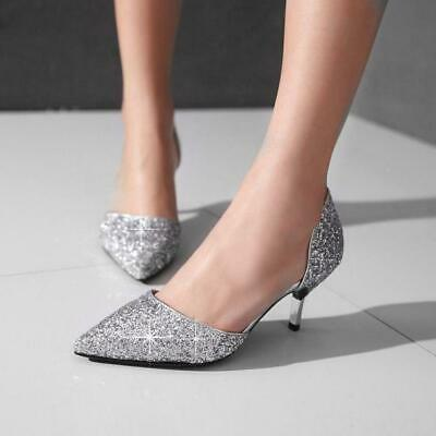ffcb4bad430 Womens Wedding Slip On Glitter Kitten Heel Sequins Pointy Toe Sandals Shoes  size
