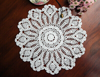 Cotton Hand Crochet Lace Pineapple Doily Doilies Placemat Round 45CM White FP03