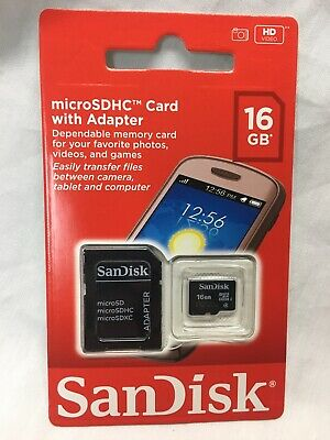 New SanDisk 16GB Micro SDHD Card with adapter for Smartphone Camera SD Card