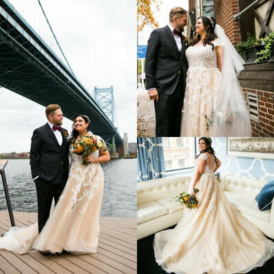 PLUS SIZE BOHEMIAN Wedding Dresses A Line Lace Applique Champagne Bridal  Gowns