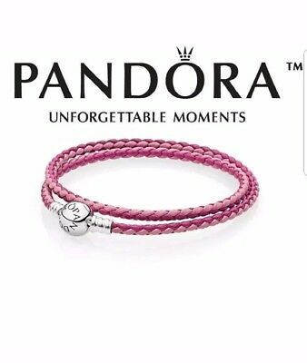 baf625473 New Pandora Pink Medium Mixed Woven Double Leather 15 in Bracelet  590747CPMX-D2
