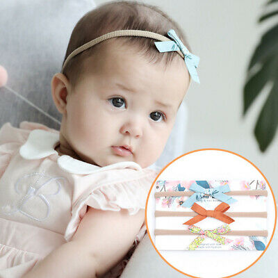 3Pcs/set Baby Solid Nylon Elastic Headband Dot Flower Printed Striped Hairband