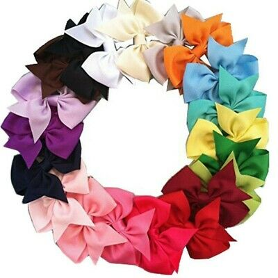 US 20Pcs Kids Baby Girls Hair Bows Band Grosgrain Boutique Alligator Clip Ribbon