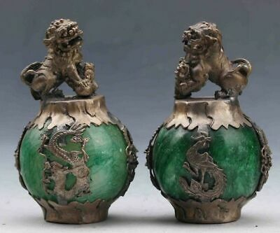 Exquisite Chinese Silver Dragon Inlaid Green Jade Hand Carved Pair Lion Statue @
