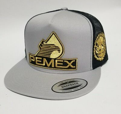 9664b53a4dd Pemex Guanajuato Hat Silver Black 2Logos Mesh Trucker Snap Back Adjust New