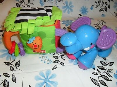 Fisher Price baby toys x 2 sensory elephant and sensory box in VGC
