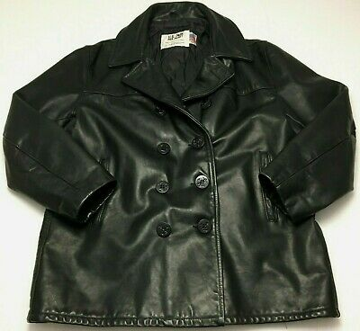 8eb80e4dfaf SCHOTT NYC 740N US Mens Size 52 Black Leather Pea Coat Officers Jacket USA  Made