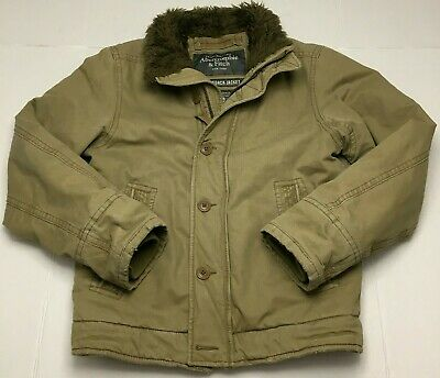 Abercrombie Fitch Mens M Adirondack Khaki Bomber Jacket Sherpa-Lined Distressed