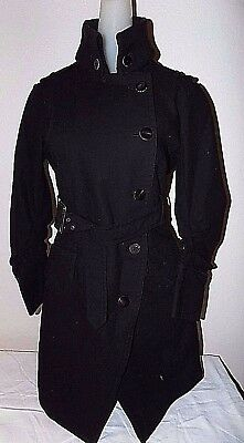772564b9b5bf1c Elizabeth and James Womens Sz 4 Trench Coat Black Steampunk Belted Cotton