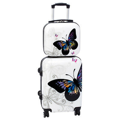 Hardshell Butterfly 2-Piece Hardside Carry-On Spinner Rolling Luggage Set