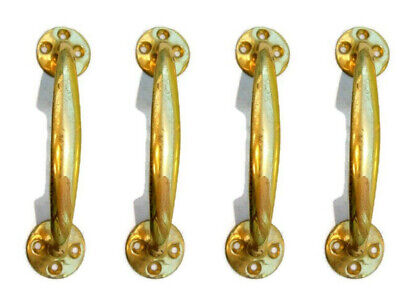"""4 polished old style pulls handles pair heavy brass vintage cupboard doors 5"""" D"""
