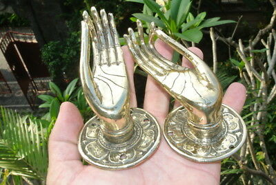 """2 Pull handle hands solid brass door polished old style knob hook 5 """"buddha B"""