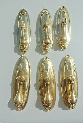 """6 LARGE 1920s pulls handles POLISHED  door old antique style drops knobs 4"""" KH"""