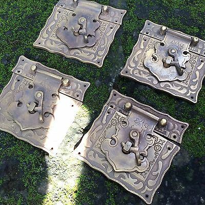 """4 x box Latch catch solid brass furniture antiques doors kitchen old style 3 """""""