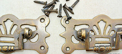 """2 small pulls handle solid brass door old vintge style drops 3"""" kitchen drawer"""