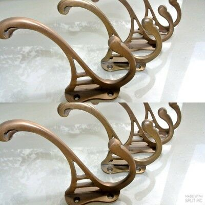 "8 COAT HOOKS door solid brass furniture antiques vintage age old style 4 "" DECO"