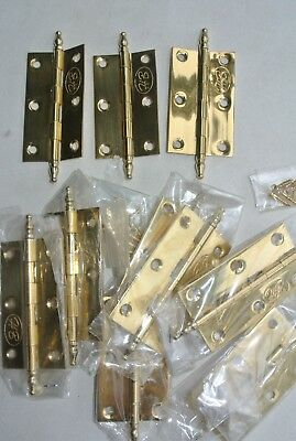 36 small hinges vintage style polished solid Brass DOOR light finial 63 mm screw