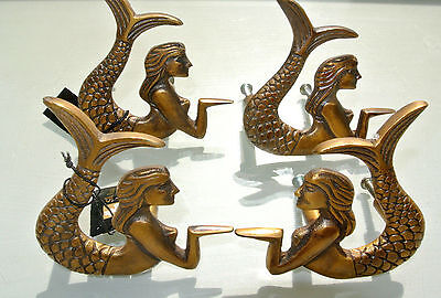 4 cute mermaid handles heavy SOLID BRASS old style bolt house antiques 80mm