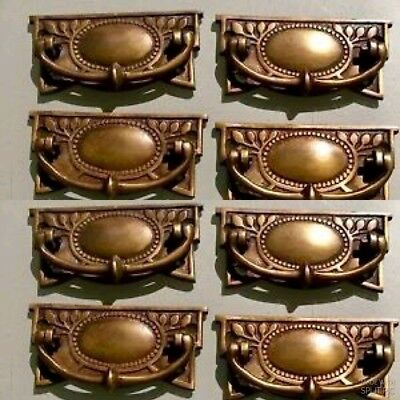 8 heavy vintage old style handles door brass furniture antiques 95 mm pulls