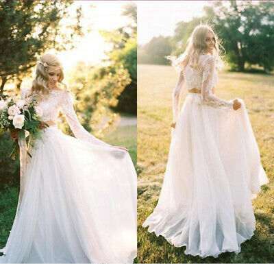 2019 Lace Boho Wedding Dresses Long Sleeves 2 Pieces Chiffon Beach Bridal Gowns