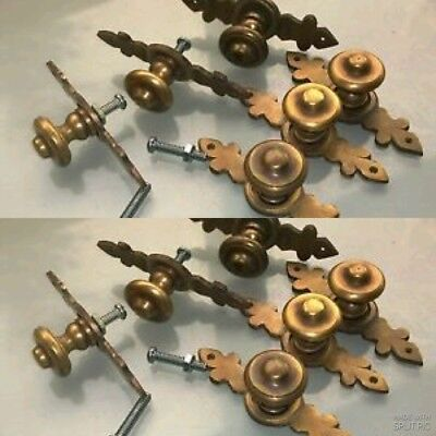 "12 pulls handles solid brass door vintage old style knobs kitchen heavy 3"" aged"