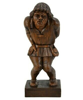 French Vintage Hand Carved Wood Sculpture Statue of Quasimodo The Hunchback
