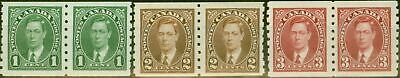 Canada 1935 Coil Stamps set of 3 SG352-354 in V.F Very Lightly Mtd Mint Pairs