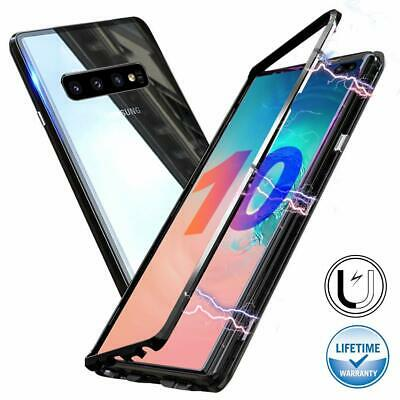 Magnetic Adsorption Metal Case For Samsung Galaxy S10 Plus Tempered Glass Cover