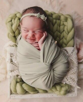 Newborn Photography Prop Baby Blanket Spring Green