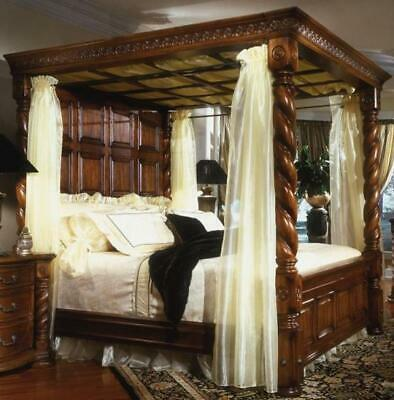 King size Antique Walnut Reproduction Four Poster  Lattice Roof and curtain pole