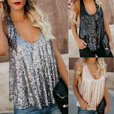 d863ccdee62948 UK Womens Sequin Sleeveless Tank Tops Vest Ladies Party Sparkly Blouse Shirt  Top