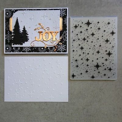 Shopaperartz EMBOSSING FOLDER A2 CHRISTMAS STARS STARRY NIGHT CARDMAKING *NEW*