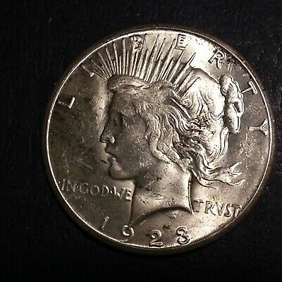 Early - 1923-S - Peace Silver Dollar - 90% US Coin. Very nice. High luster.