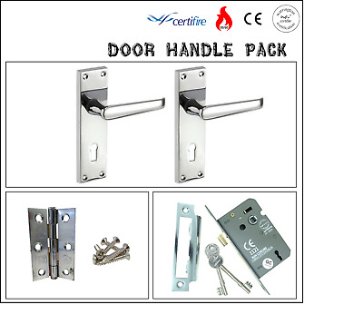 Certifire Door Handle Lock Pack Victorian Straight Lever on Backplate &  Hinges