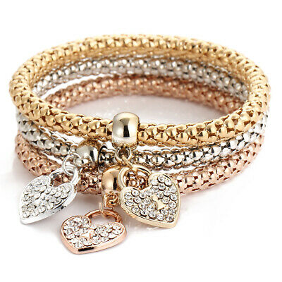 3Pcs Fashion Women Gold Silver Rose Gold Bracelets Set Rhinestone Bangle Jewelry