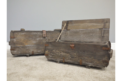 2 x Rustic Wooden Storage Trunks Old Fashioned Treasure Boxes Chests Home New