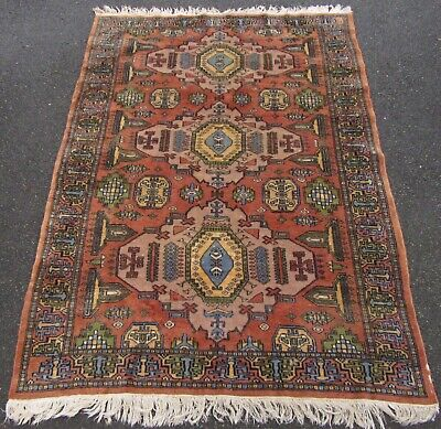 An Old Vintage Country House Shabby Chic Indo Persian Caucasian Pattern Rug
