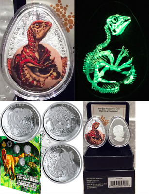 2019 Hatching Hadrosaur $20 Silver Glow EggCoin & Dinosaurs Canada 25Cent 3Coins