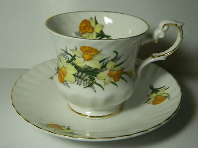 Queen's ROSINA Fine Bone China Special Flowers March DAFFODIL Tea Cup and Saucer