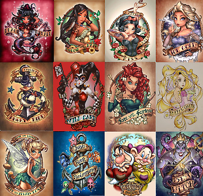 5D Diamond Painting Disney Tattoo style pin up Characters Cute Cartoon Craft UK